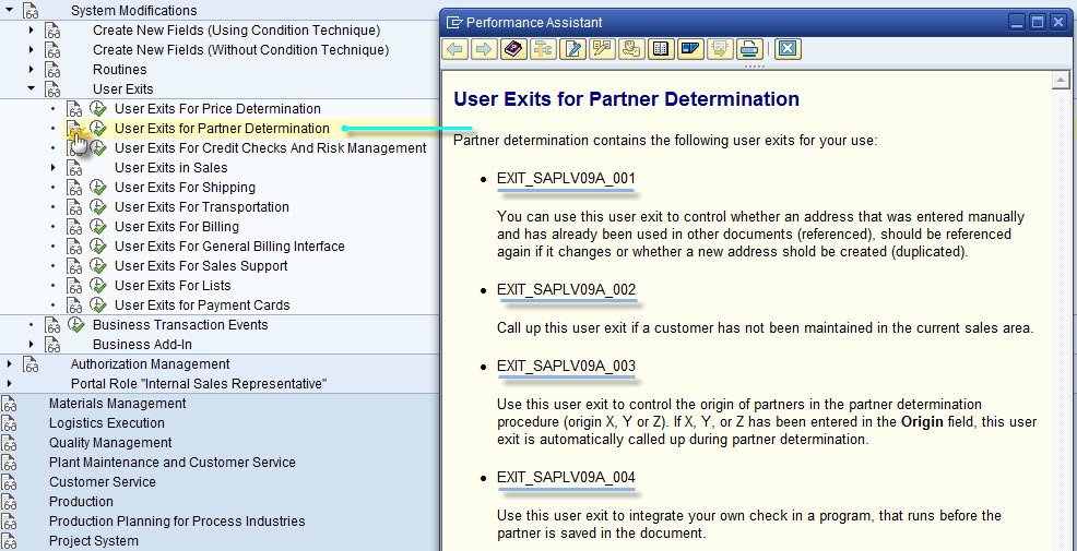 3. SD User Exit Documentation Via SPRO